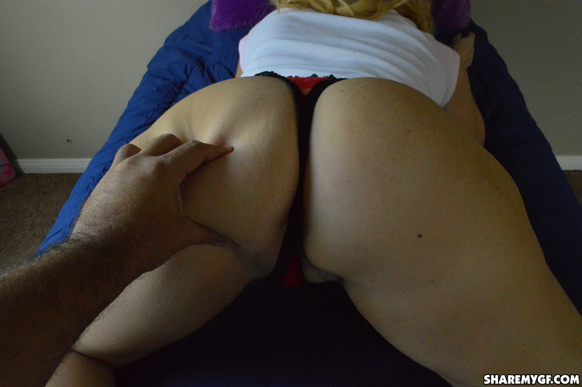 Share My GF: Mature girlfriend lets her boyfriend take pictures of her round ass and using a dildo on her wet pussy