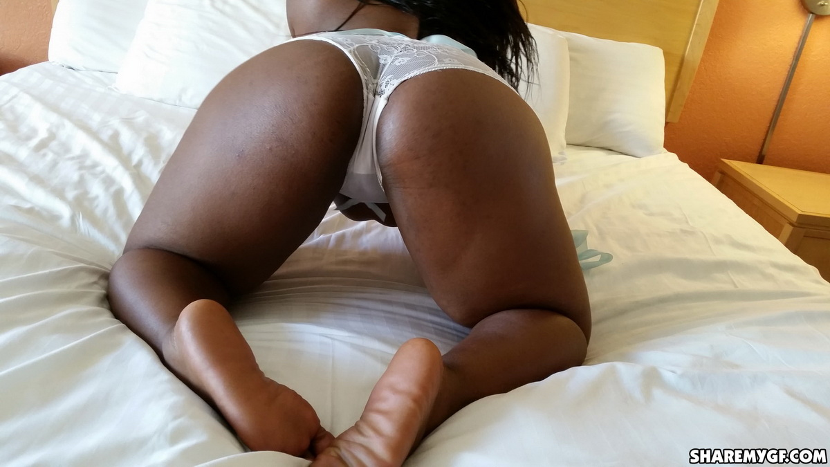 Share My GF: Big black girlfriend strips out of her lingerie for her boyfriend