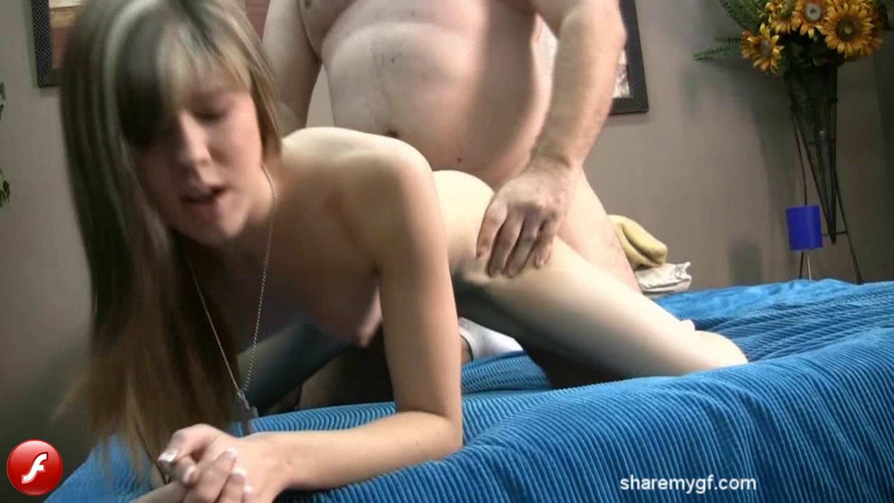 Share My GF: Watch as a tiny horny girlfriend gets fucked from behind
